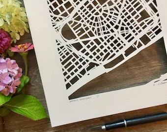 Ann Arbor, Detroit, Grand Rapids, Minneapolis, or Linden Hills hand cut map, 10x10.
