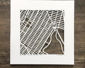 Brooklyn hand cut map, 10x10