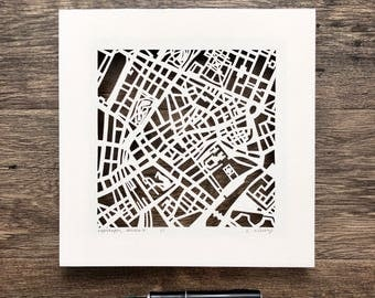 Copenhagen, Amsterdam, London, Brussels or Vienna hand cut map ORIGINAL, 10x10