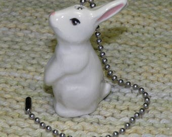 Bunny Rabbit Ceiling Fan/Light Pull - Ivory White - Brass or Nickel Chain - USA