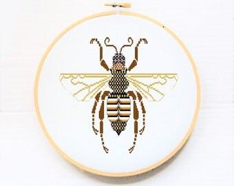 Bee - Modern Cross Stitch - Stitchery designs - Needle Art Pattern -