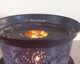 Sale Large Pierced Tin Candle Holder
