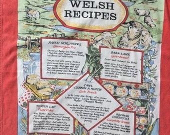 Vintage Welsh Recipes Souvenir Tea Towel