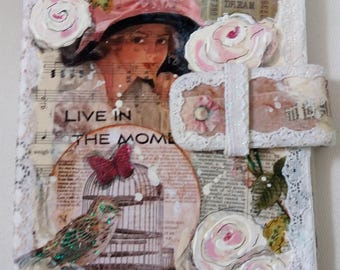 Shabby Chic Vintage Style Collaged & Handpainted Tablet Case, fits 7in Kindle Fire HD, Galaxy S2 8in tablet, iPad Mini or other 8in tablet
