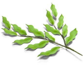 3 Green Leaf Stems in Gum Paste for Weddings and Cake Decorating