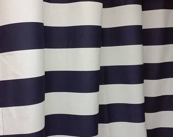 """Navy blue and white, grommet shower curtain, horizontal 3"""" stripes, cotton"""