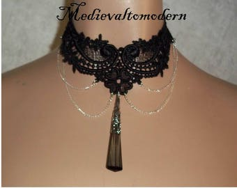 Necklace in  Elegant Long Teardrop Chain Venise Victorian Gothic Choker by Medievaltomodern Wearable Art Runway Style