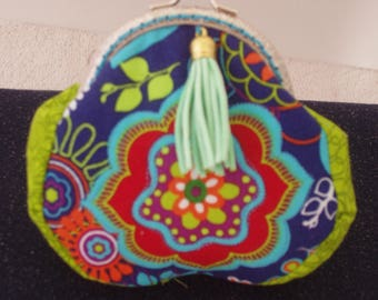 Coin Purse,Purse,Pouch,Wallet,Pocketbook,Handbag,Silver Frame,Quality Cotton, Abstract Floral