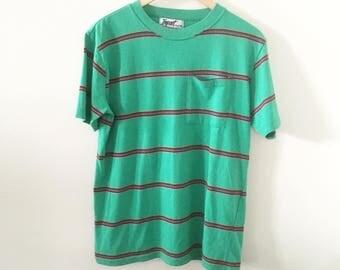 90's Striped Green Pocket Tee