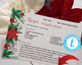 Printable Christmas Recipe Card, Editable with Templett, Holiday Poinsettia Recipe Card Instant Download, Digital, DIY Recipe Card 6x4