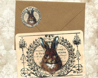 Note Cards, Rabbit Cards, Flat Cards, Vintage Rabbit, Stickers, Nature, Rabbit