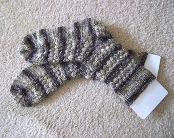 Socks - Handknitted Socks - Unisex - Size Large 8 US / 38/39 EU - Colors Brown, Beige, Gray