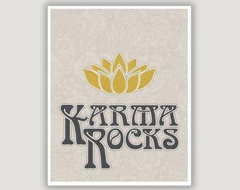 Karma Rocks, karma print, karma wall art, karma poster, bedroom art, dorm decor, gray wall art, bo ho decor, typography art, inspiration art