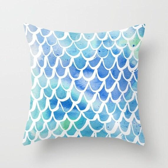 Mermaid Throw Pillow - Watercolor Pillow - Mermaid Cushion - Blue Pillow - Mermaid Tail Pillow - Watercolor Cushion 16 18 20 24 inch