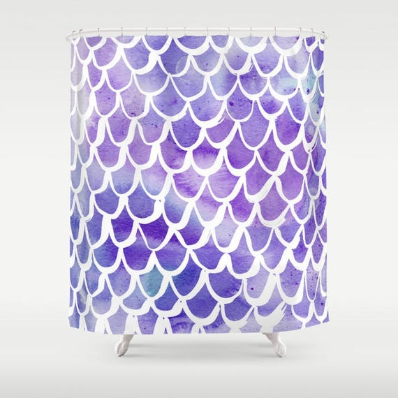 Mermaid Shower Curtain - Purple Shower Curtain - Watercolor Shower Curtain - Shower Curtain - Scallop Shower Curtain - Purple and White