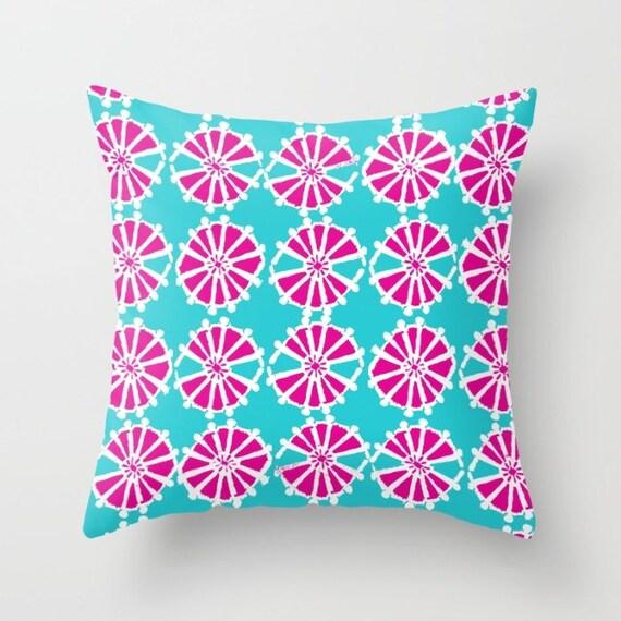 Magenta Turquoise Throw Pillow . Modern Throw Pillow . Geometric Pillow . Pink Cushion . Triangle Pillow Throw Pillow Cover 14 16 18 20 inch