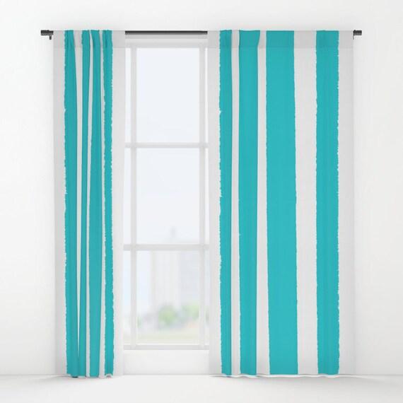 Aquamarine and White Striped curtains - Striped Curtains - Cyan curtains - Window Curtains - Window Treatments - Stripe Curtain Panel Drapes