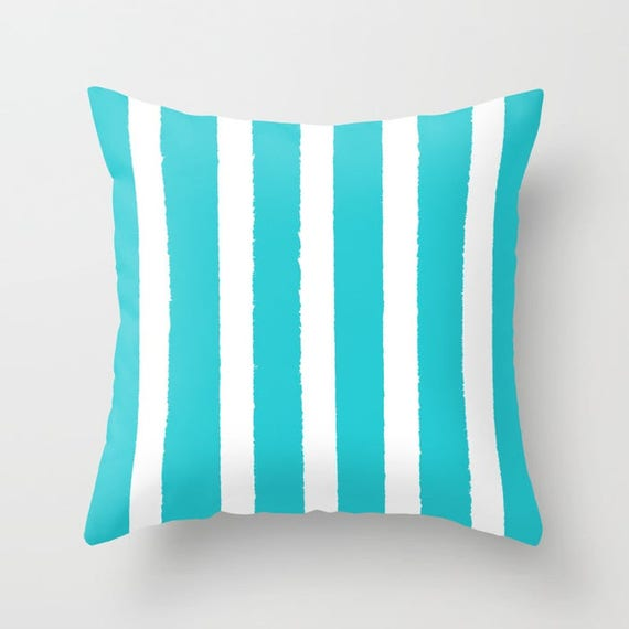 OUTDOOR Throw Pillow - Aqua and White Outdoor Pillow - Stripe patio cushion - Modern Cyan Pillow - 16 18 20 inch - Aquamarine Outside Pillow