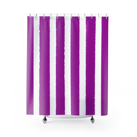 Purple Shower Curtain . Purple Striped Shower Curtain . Modern Purple Shower Curtain . Violet Shower Curtain . Violet Striped Shower Curtain