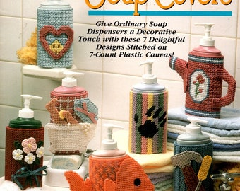 Plastic Canvas Decorative Soap Covers Fish Tools Watering Can Bouquet Heart and Home Needlepoint Embroidery Craft Pattern Leaflet 923343