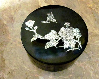 Vintage Asian Black laquer Box with Mother of Pearl inlay Containing 4 Coasters