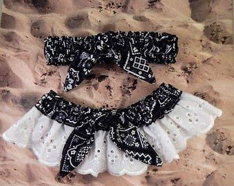 Black Bandana Paisley Tied Knot White Eyelet Lace Wedding Garter Toss Set