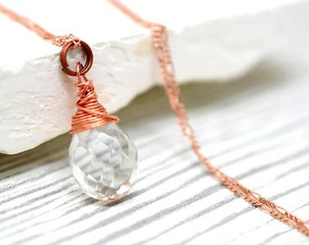 925 silver crystal rose gold plated necklace
