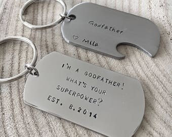 Godparent Gift, Quote Keyring, Mens Keychain, Inspiration Gift For Godparent, Naming Day Gift, Christening Day Gift Ideas