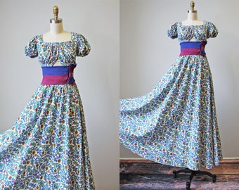 30s Gown - Vintage 1930s Dress - Rare Carmen Miranda Style Two Piece Midriff Top and Skirt XS XXS - Venus Flytrap Gown