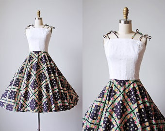 50s Dress - Vintage 1950s Dress - White Eyelet Black Rose Print Cotton Circle Skirt Sundress M - Clover + Roses Dress
