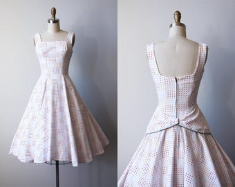 50s Dress - Vintage 1950s Dress - Mustard Grey Rust Polka Dots Full Circle Skirt Sundress w Bustle XS - Rearview Mirror Dress