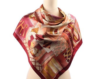 Vintage BOHO Scarf . Novelty Print Feliciani Shawl Designer Muffle Brown Abstract Retro Gift Urban Casual Bohemian Neckwear  .