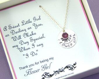 Flower Girl Necklace,Flower Girl Gift,Handstamped Necklace,Birthstone Necklace,Junior Bridesmaid Gift,Wedding Thank You Gift,Hand Stamped
