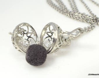 Filigree Stainless Steel Diffuser Necklace, Lava Aromatherapy Locket, Pewter Essential Oils Diffuser Pendant, Aromatherapy Necklace