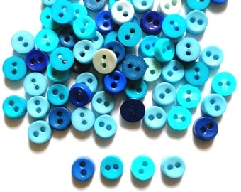 100 pcs  Tiny Buttons micro buttons 2 holes size 6mm Mix Blue tone