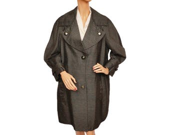 Vintage 1950s Striped Taffeta Coat - M