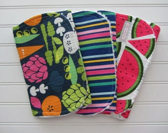 Baby GIrl Burp Cloth Set, Fruits and Veggies, Watermelon, Carrots, Peas, Food, Chef Baby Set of 3 Burp Cloths, Cotton Chenille Burps