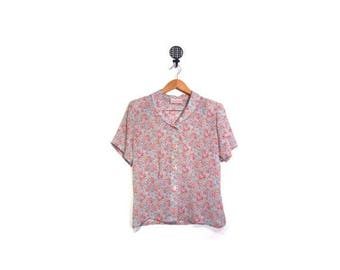 30% OFF Vintage 80s Peter Pan Collared V Neck Sheer Floral Button Up Short Sleeve Blouse women s m l vestiesteam preppy garden indie boho ru