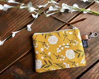 SALE - Pom Floral in Mustard with Vegan Leather and Key Clip - Zippered Clutch /  Coin Pouch / Change Purse