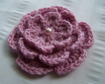 Crochet motif flower with bead 3 inch pink embellishment aplique