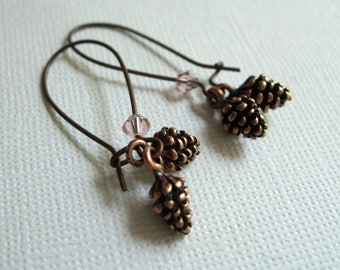 Pine Cone Earrings, Antiqued Copper Jewelry