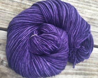 Hand Dyed DK Yarn the King's Cloak Royal Dark Purple hand painted yarn 274 yards handdyed dk sport weight superwash merino wool swm amethyst