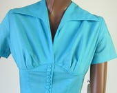 50s Vintage Day Dress Full Skirt Corset Style Aqua Cotton New Old Stock Extra Small