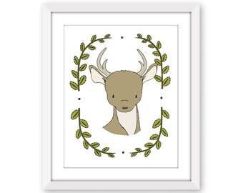 Woodland Nursery Art -- Portrait Of A Deer-- Deer Art -- Woodland Animal Art, Children Art, Kids Wall Art, Deer Picture