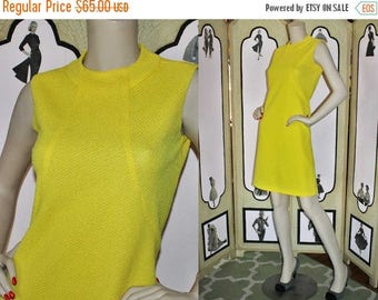 ON SALE 1960's Yellow Textured Summer Shift Dress with Decorative Seam Detail.