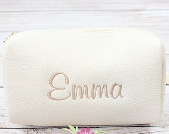 Vegan Leather Ivory Cosmetic Make Up Bag - Monogrammed Embroidered Personalized