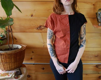 vintage color block copper and black blouse small