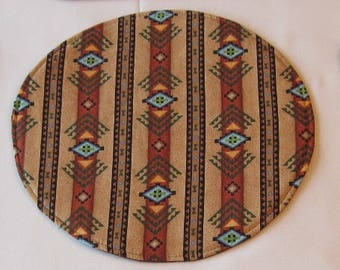 Southwestern Circular Placemats Reversible set of 4 or 6 in 2 sizes Turquoise Aztec Placemats Southwest Sedona Placemats  southwest decor