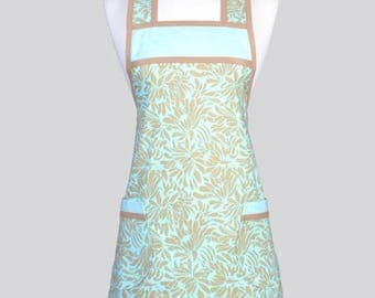 SALE Retro Chef Womans Apron , Daisy Blooms in Aqua and Taupe Floral Vintage Inspired Old Fashioned Kitchen Cooking Apron with Pockets