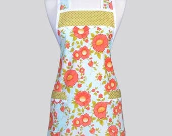 SALE Retro Chef Womans Apron , Coral and Aqua Daydream Floral Vintage Inspired Old Fashioned Kitchen Cooking Apron with Pockets
